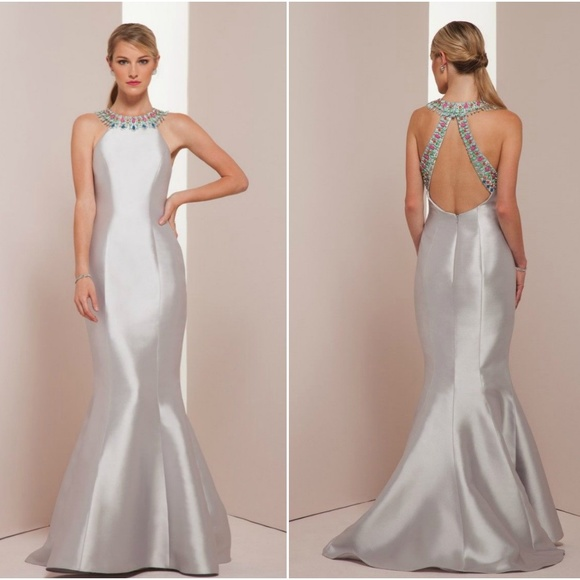 90% off Mignon Dresses Nwt Sz 4 Mikado Vm35301 Silver Mermaid Gown ...